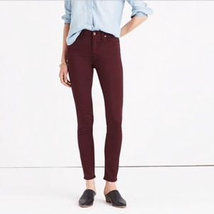 Madewell High Rise Skinny Maroon Jeans Size 25
